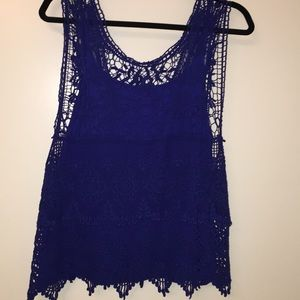 Cobalt lace shirt with tank inlayed for coverage